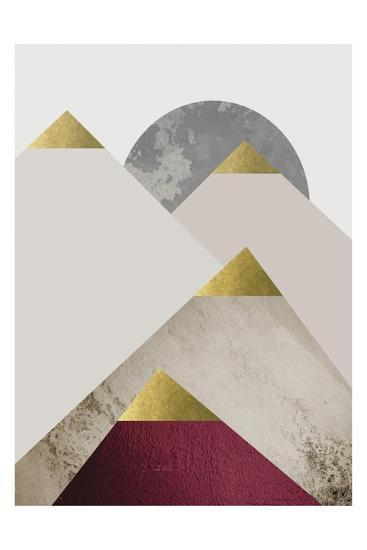 Beige Burgundy Mountains 2-Urban Epiphany-Art Print