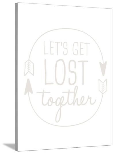 Beige Let's Get Lost-Jetty Printables-Stretched Canvas Print