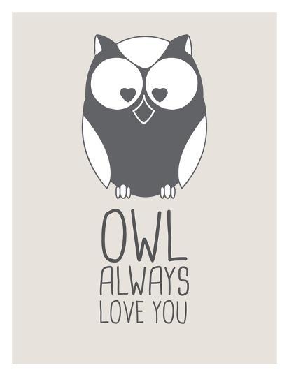 Beige Owl Always Love You-Jetty Printables-Art Print