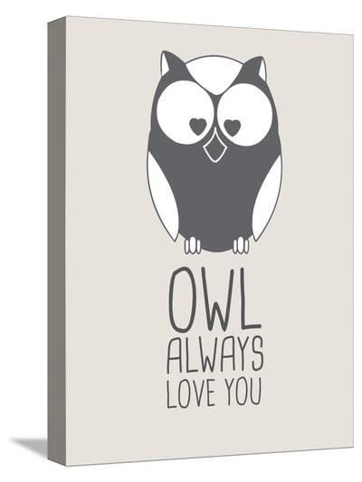 Beige Owl Always Love You-Jetty Printables-Stretched Canvas Print