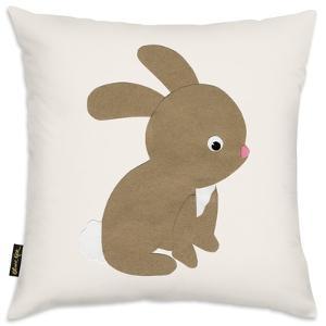 Beige Rabbit Throw Pillow