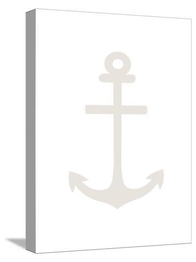 Beige White Anchor-Jetty Printables-Stretched Canvas Print