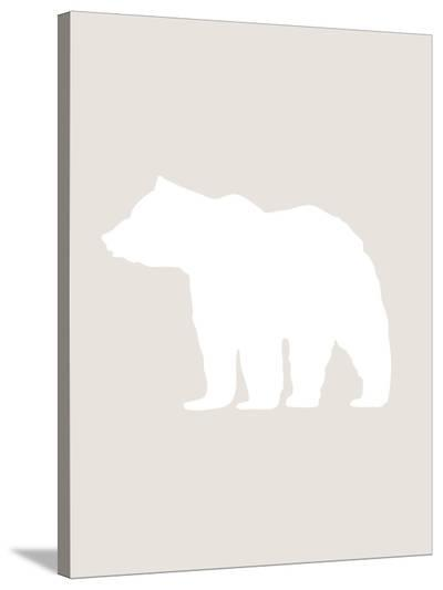 Beige White Bear-Jetty Printables-Stretched Canvas Print