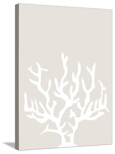 Beige White Coral-Jetty Printables-Stretched Canvas Print