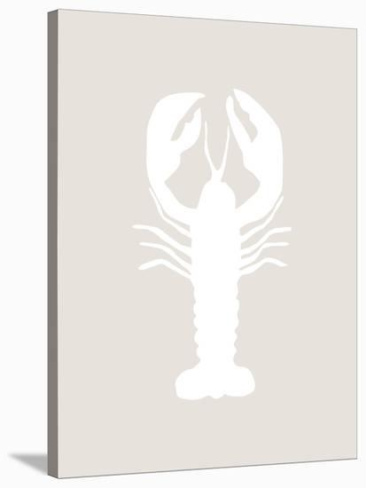 Beige White Lobster-Jetty Printables-Stretched Canvas Print