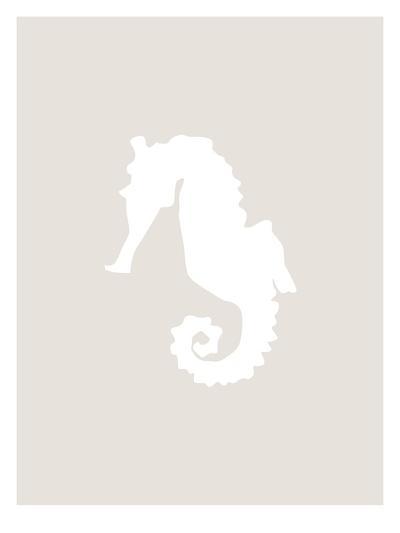 Beige White Seahorse-Jetty Printables-Art Print
