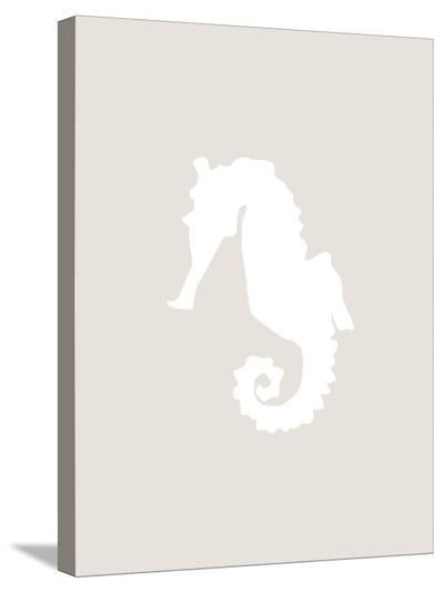 Beige White Seahorse-Jetty Printables-Stretched Canvas Print