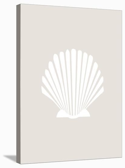 Beige White Shell-Jetty Printables-Stretched Canvas Print