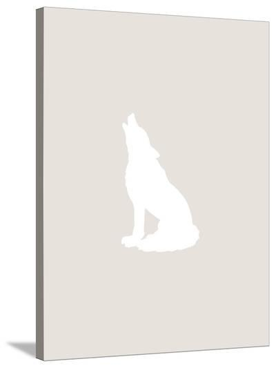 Beige White Wolf-Jetty Printables-Stretched Canvas Print