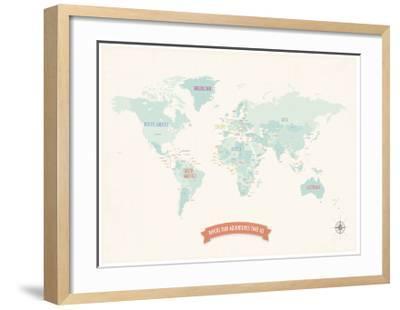 Beige World Travel Map-Rebecca Peragine-Framed Art Print