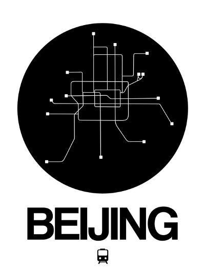 Beijing Black Subway Map-NaxArt-Art Print