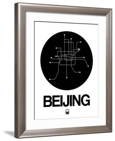 Beijing Black Subway Map-NaxArt-Framed Art Print