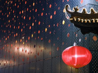Beijing, Chinese New Year Spring Festival - Lantern Decorations on a Restaurant Front, China-Christian Kober-Photographic Print