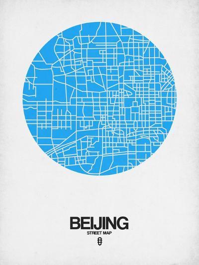 Beijing Street Map Blue-NaxArt-Art Print
