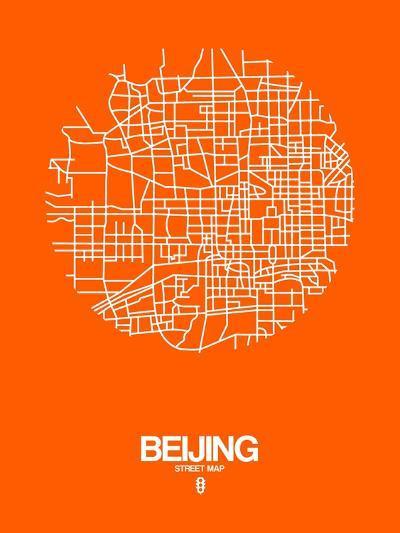 Beijing Street Map Orange-NaxArt-Art Print