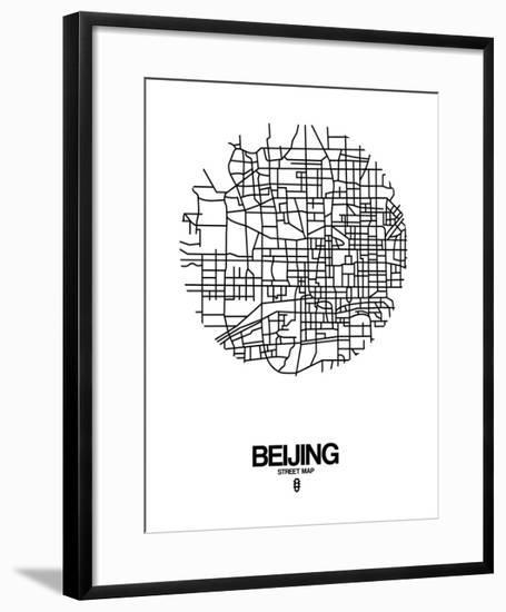 Beijing Street Map White-NaxArt-Framed Art Print