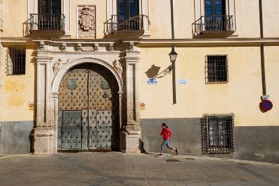 Bekah Herndon Goes For A Run In The Colorful Medieval Old Town Section Of Cuenca, Spain-Ben Herndon-Photographic Print