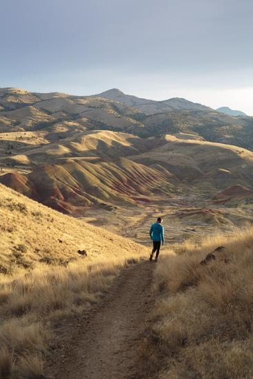 Bekah Herndon Hiking Along Carroll Rim Trail, John Day Fossil Beds National Monument Eastern Oregon-Ben Herndon-Photographic Print