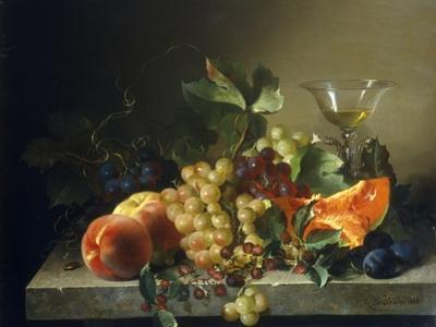A Still Life with Fruit on a Stone Ledge, 1858 by Bela Schaffer