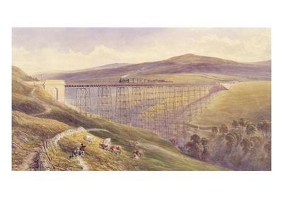Belah Viaduct, 1869 (W/C and Gouache with Pen and Ink on Paper)-John Osborn Brown-Premium Giclee Print