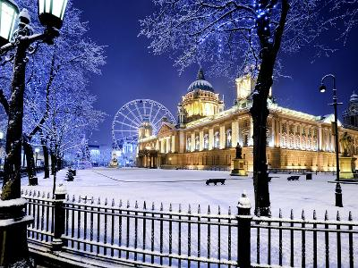 Belfast's City Hall in the Snow at Dusk-Chris Hill-Photographic Print