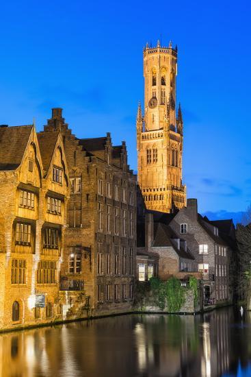 Belfry at Twilight, Historic Center of Bruges, UNESCO World Heritage Site, Belgium, Europe-G&M-Photographic Print
