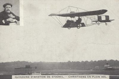 Belgian Aviator Josef Christiaens Flying at the Stockel Aviation Fortnight, Brussels, Belgium, 1910--Photographic Print