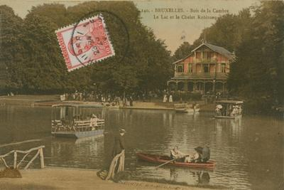 The Lake and the Chalet Robinson, Bois de La Cambre, Brussels. Postcard Sent in 1913