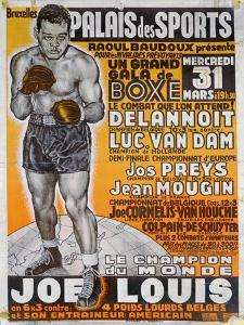 Poster Advertising the Boxing Match Between the Belgian Champion, Delannoit and the Dutch… by Belgian School