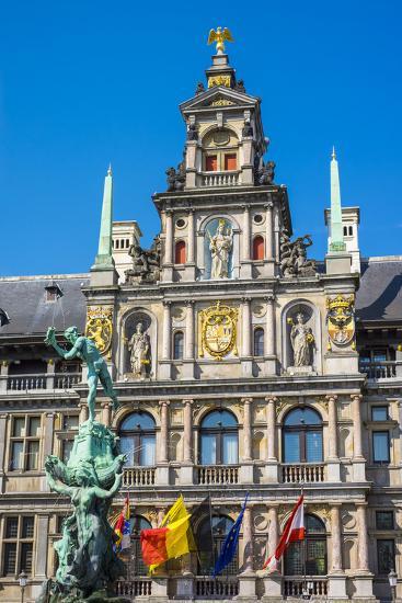Belgium, Flanders, Antwerp (Antwerpen). Stadhuis city hall and statue of Silvius Brabo on Grote Mar-Jason Langley-Photographic Print