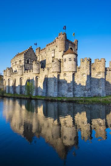 Belgium, Flanders, Ghent (Gent). Gravensteen castle, 12th century medieval castle on the Leie River-Jason Langley-Photographic Print
