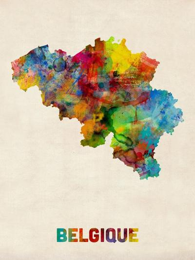 Belgium Watercolor Map-Michael Tompsett-Art Print
