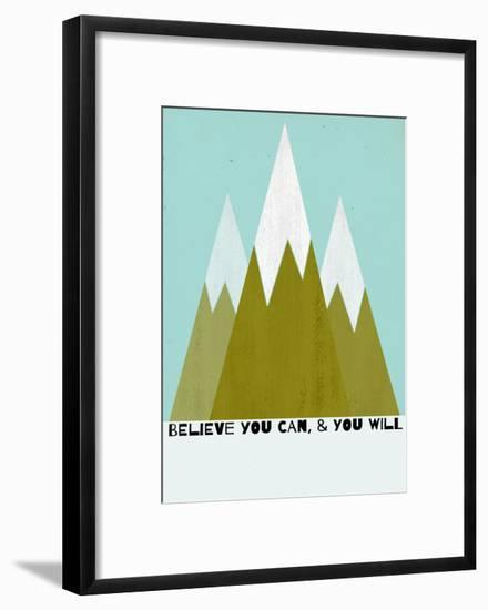 Believe You Can-Mountains - Silouhette Typography-Shanni Welch-Framed Art Print