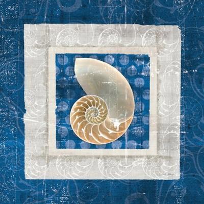 Sea Shell II on Blue by Belinda Aldrich