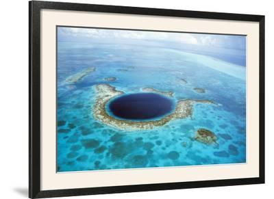 Belize Aerial of Belize Blue Hole--Framed Photographic Print