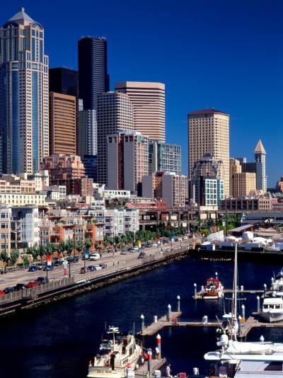 Bell Harbor Marina under Skyscrapers, Seattle, Washington, USA-Charles Crust-Photographic Print