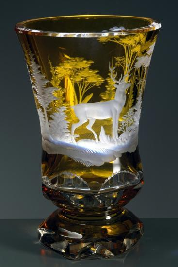 Bell-Shaped Glass with Hunting Subject, Greenish Yellow Crystal, Ca 1840--Giclee Print