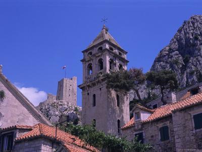 Bell Tower and Fortress, Omis, Makarska Riviera, Croatia-Jean Brooks-Photographic Print