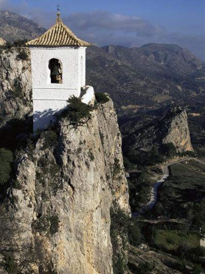 Bell Tower in Village on Steep Limestone Crag, Guadalest, Costa Blanca, Valencia Region, Spain-Tony Waltham-Photographic Print