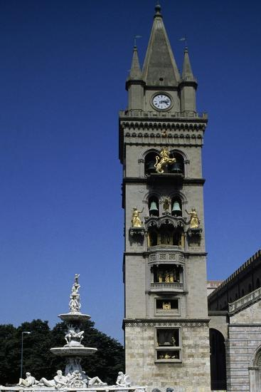 Bell Tower of Cathedral-Basilica of Our Lady of Assumption, Messina, Sicily, Italy--Giclee Print