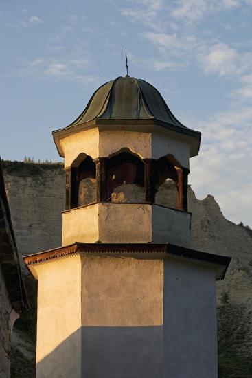 Bell Tower with Sandstone Pyramids in Background, Pirin, Melnik, Bulgaria--Giclee Print