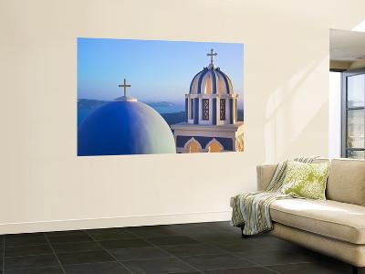 Bell Towers of Orthodox Church Overlooking the Caldera in Fira, Santorini (Thira)-Gavin Hellier-Wall Mural