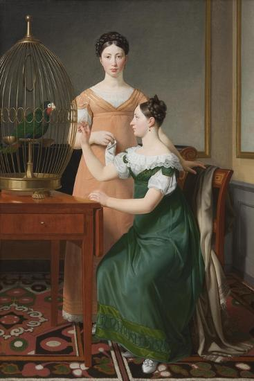 Bella and Hanna. The Eldest Daughters of M.L. Nathanson, 1820-Christoffer-wilhelm Eckersberg-Giclee Print