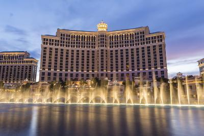 Bellagio at Dusk with Fountains, the Strip, Las Vegas, Nevada, Usa-Eleanor Scriven-Photographic Print