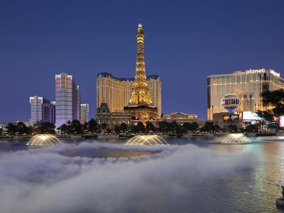 Bellagio Fountains Perform in Front of the Eiffel Tower Replica, Las Vegas, Nevada, USA-Gavin Hellier-Photographic Print