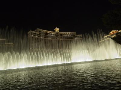 Bellagio Hotel at Night with its Famous Fountains, the Strip, Las Vegas, Nevada, USA-Robert Harding-Photographic Print