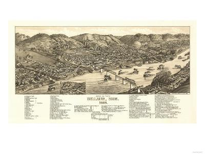 Bellaire, Ohio - Panoramic Map-Lantern Press-Art Print