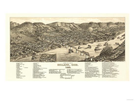 Bellaire, Ohio - Panoramic Map-Lantern Press-Art Print