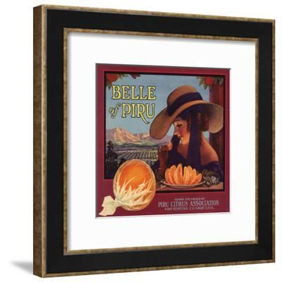Belle of Piru Brand - Piru, California - Citrus Crate Label-Lantern Press-Framed Art Print