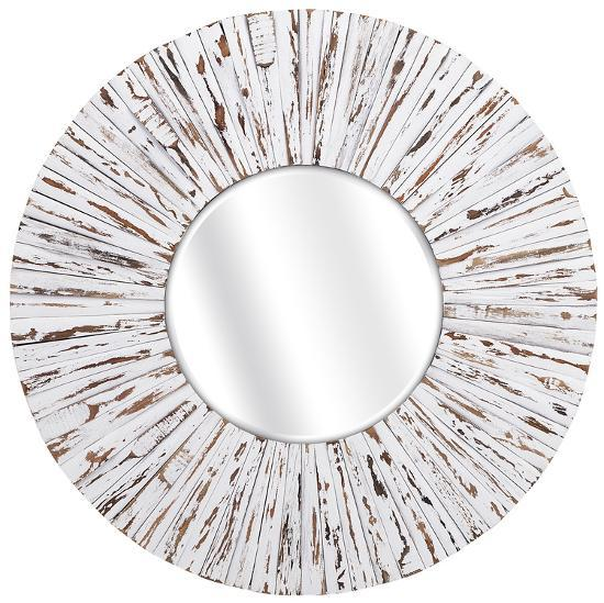 Belle White Rustic Mirror--Wall Mirror